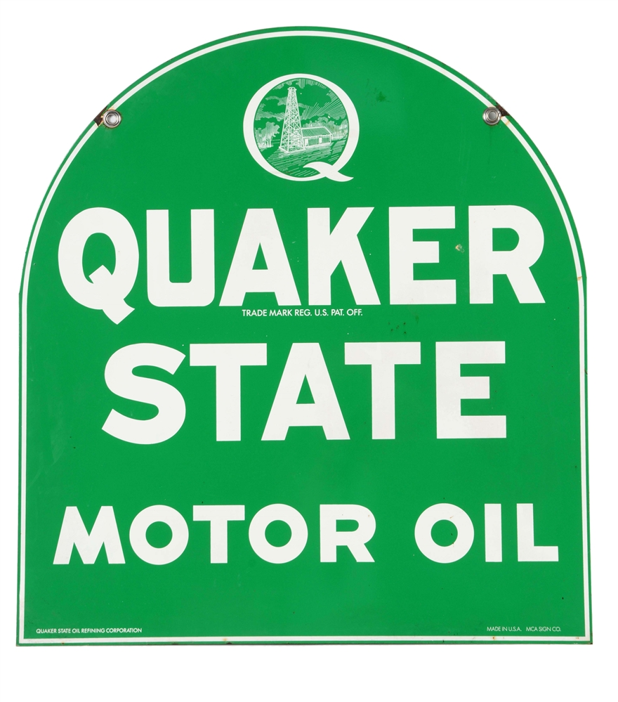 Quaker State Motor Oil Porcelain Sign.
