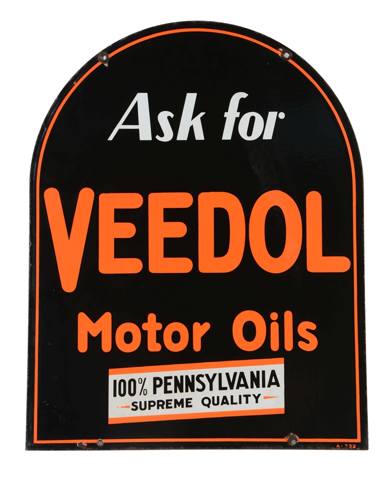 Veedol Motor Oils Tombstone Shaped Porcelain Sign.