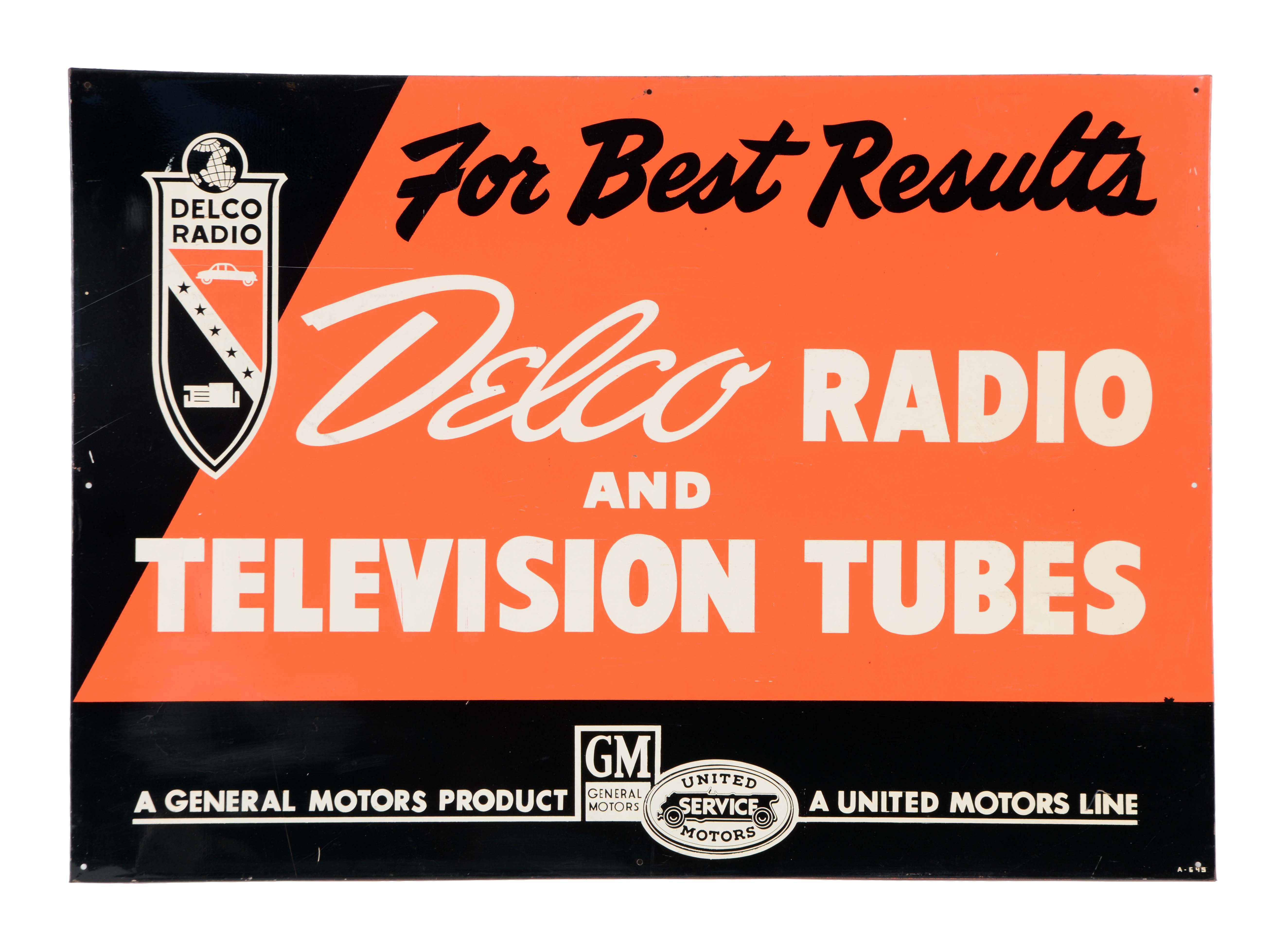 Gas Prices Las Vegas >> Lot Detail - Delco Radio & Television Tubes Sign.