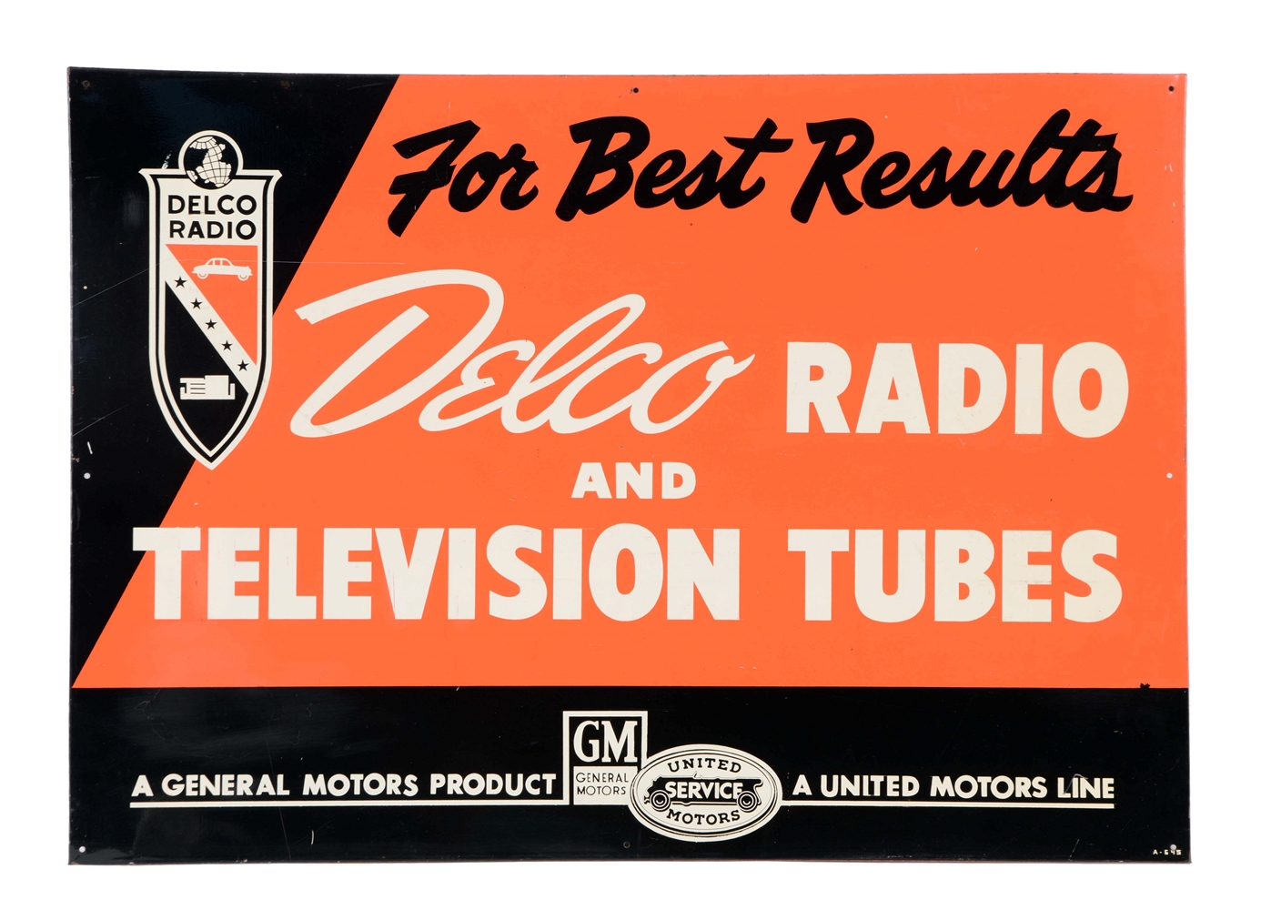 Delco Radio & Television Tubes Sign.