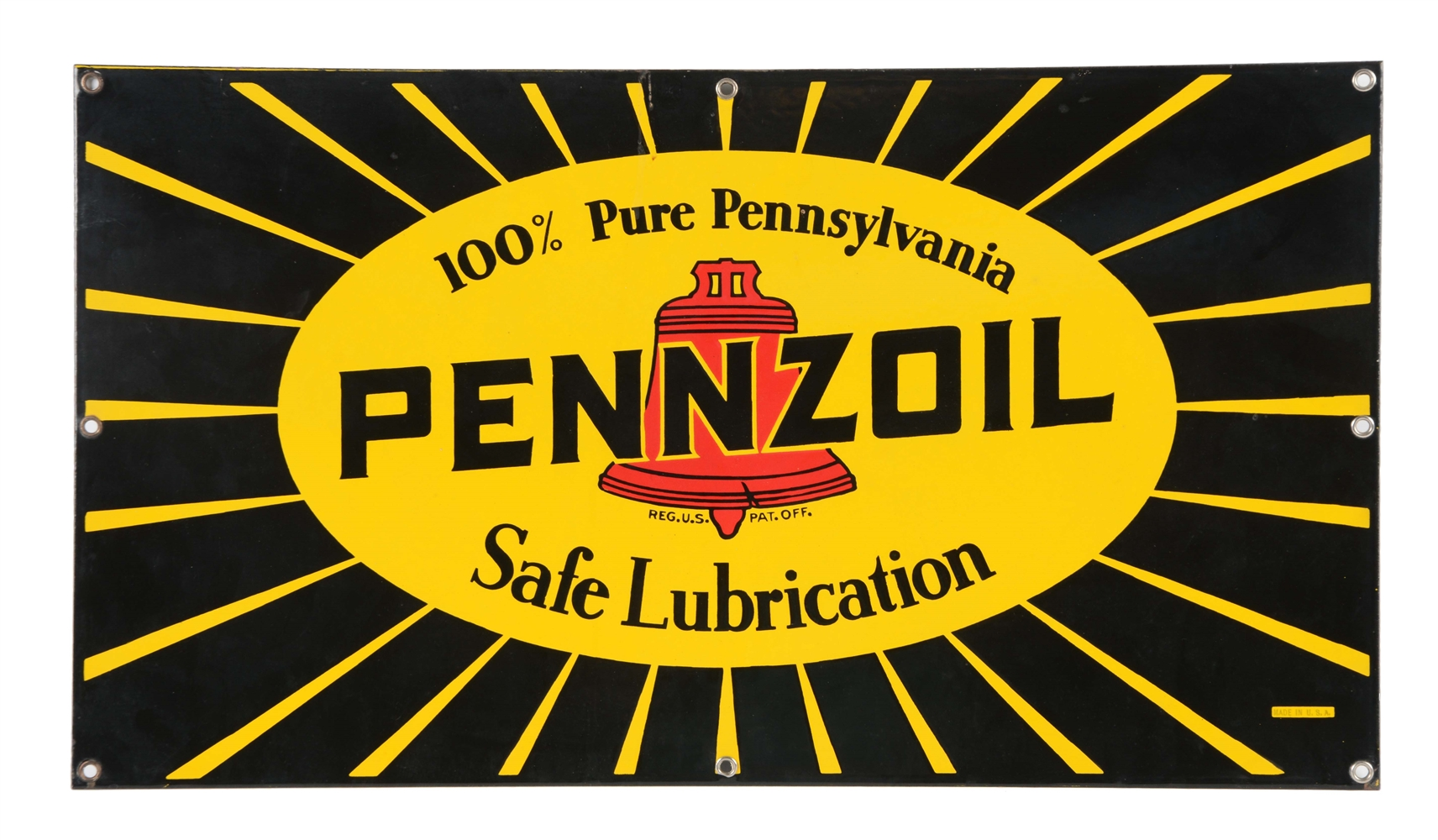 Pennzoil Safe Lubrication Porcelain Sign.