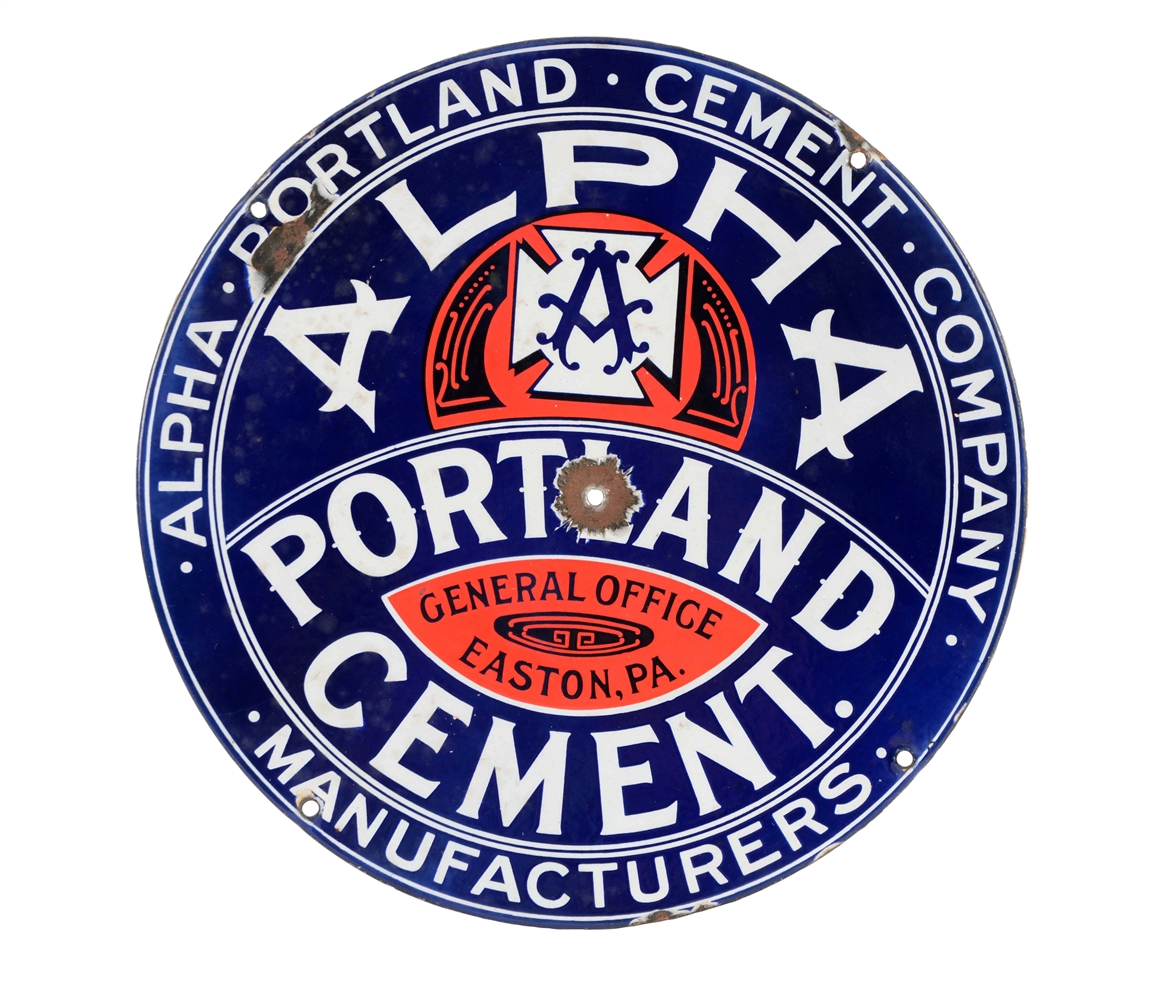 Alpha Portland Cement Porcelain Sign.