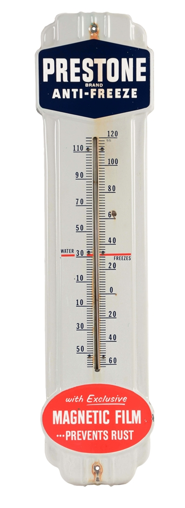 Prestone Anti-Freeze Porcelain Thermometer.
