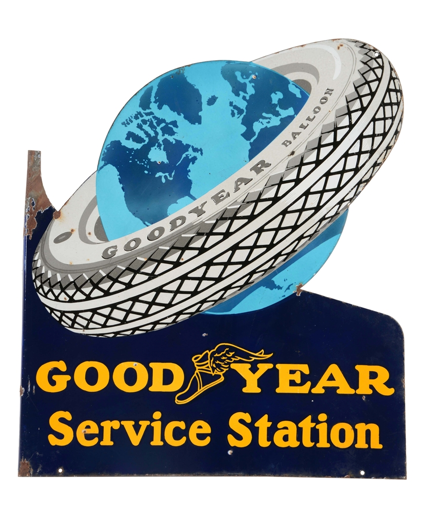 Goodyear Service Station Porcelain Flange Sign.