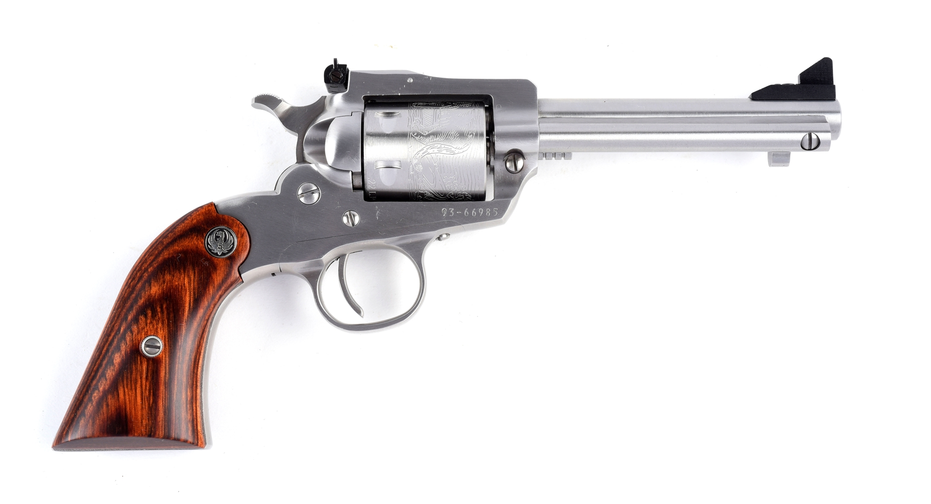 (M) Cased Ruger Stainless Bearcat Single Action Revolver.