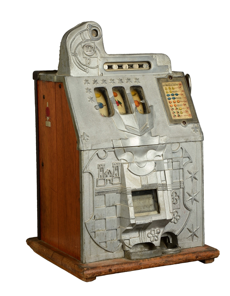 "**10¢ Mills ""Castle Front"" Mystery Bell Slot Machine."