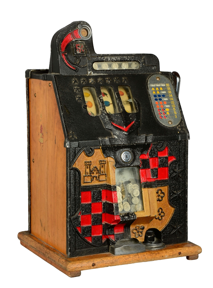 "**5¢ Mills Novelty Mystery ""Castle Front"" Slot Machine."