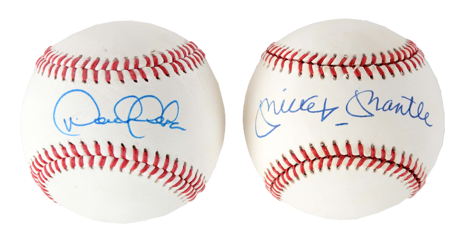Lot of 2: Derek Jeter & Mickey Mantle Single Signed Baseballs.