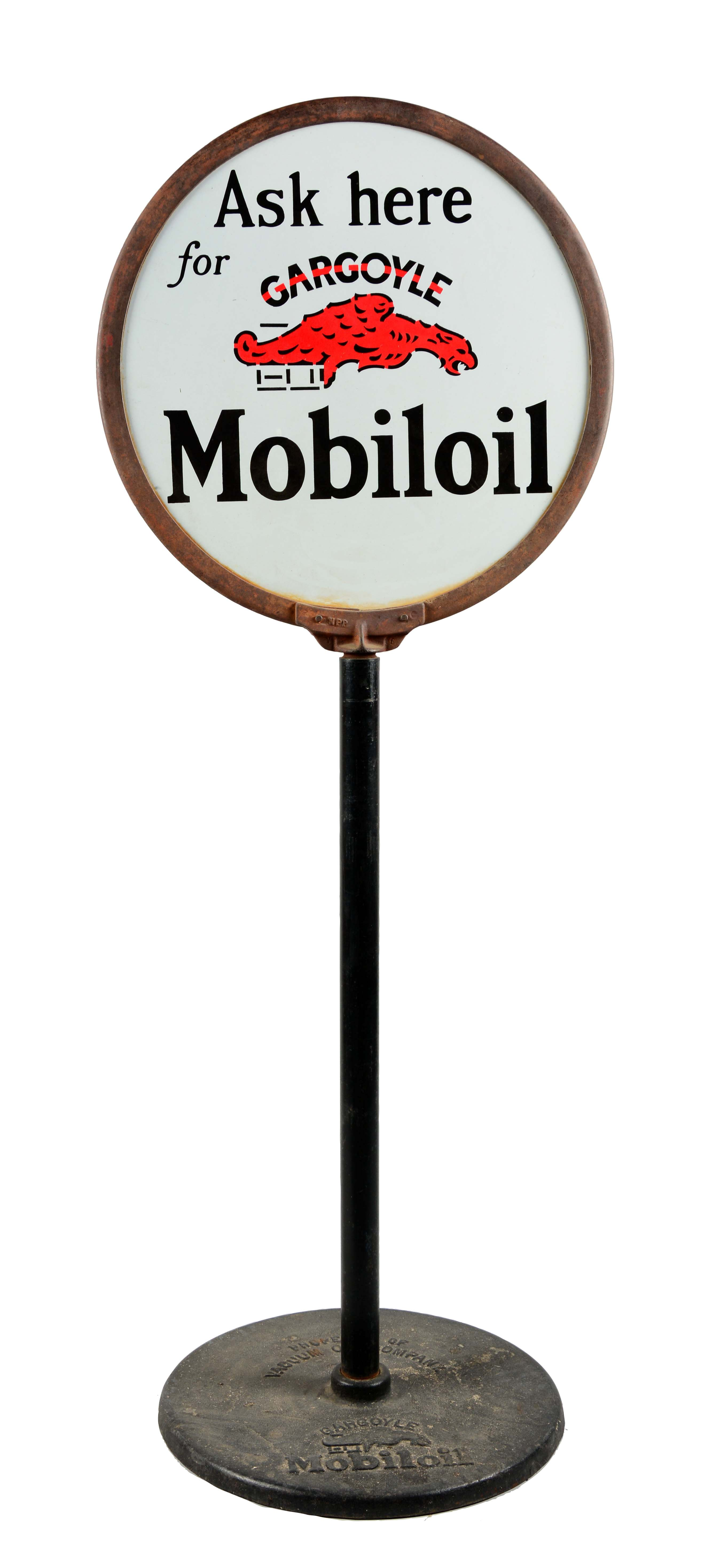 Gas Prices Las Vegas >> Lot Detail - Mobiloil Ask Here For Gargoyle Mobiloil Porcelain Lollipop Sign.