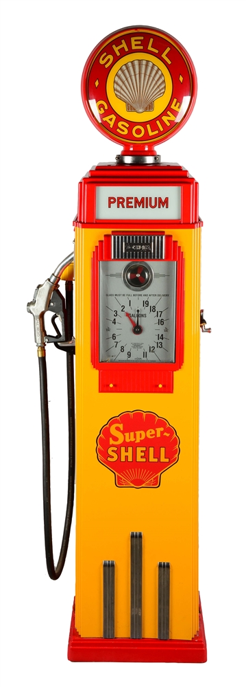 Shell Gas Prices >> Lot Detail - RESTORED SHELL TOKHEIM #36B CLOCK FACE GAS PUMP.