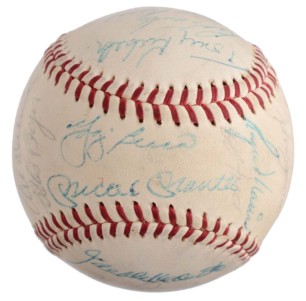 1960 New York Yankees Team Signed Baseball from the Casey Stengel Estate.