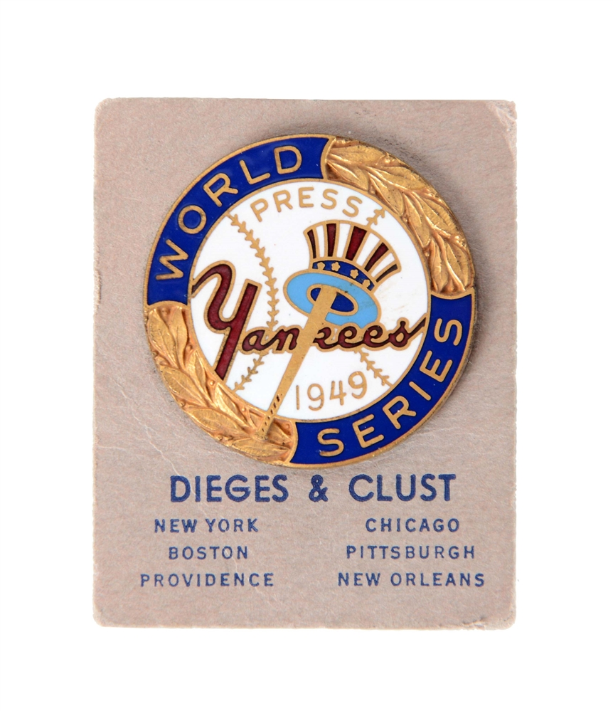1949 New York Yankees World Series Press Pin.