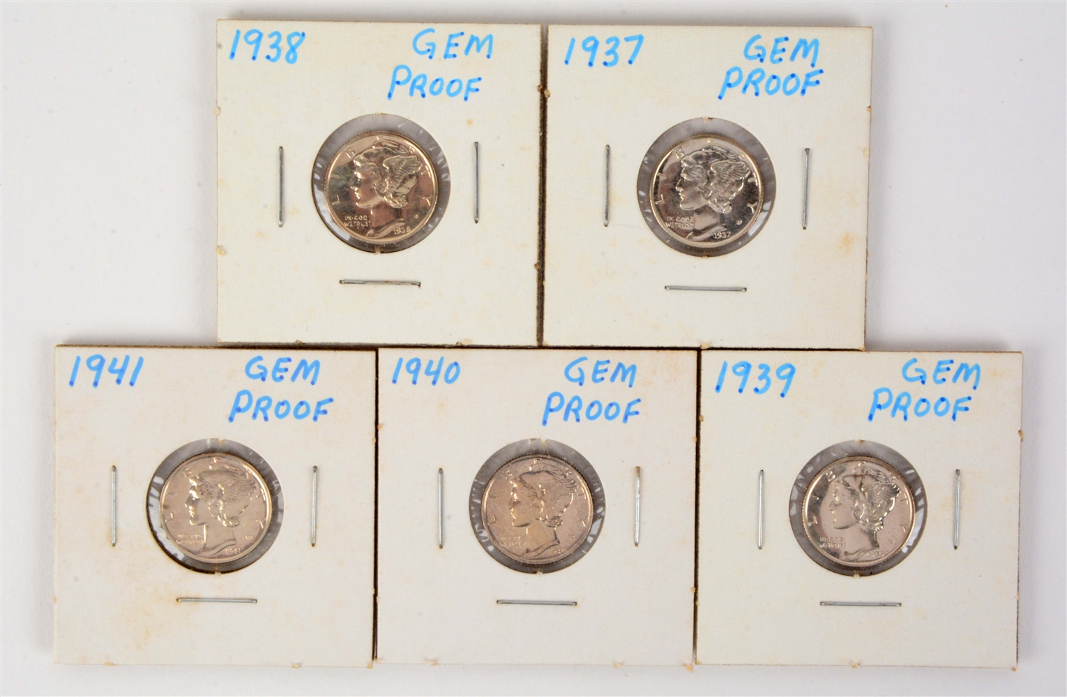 Lot of 5: Gem Proof Mercury Dimes.