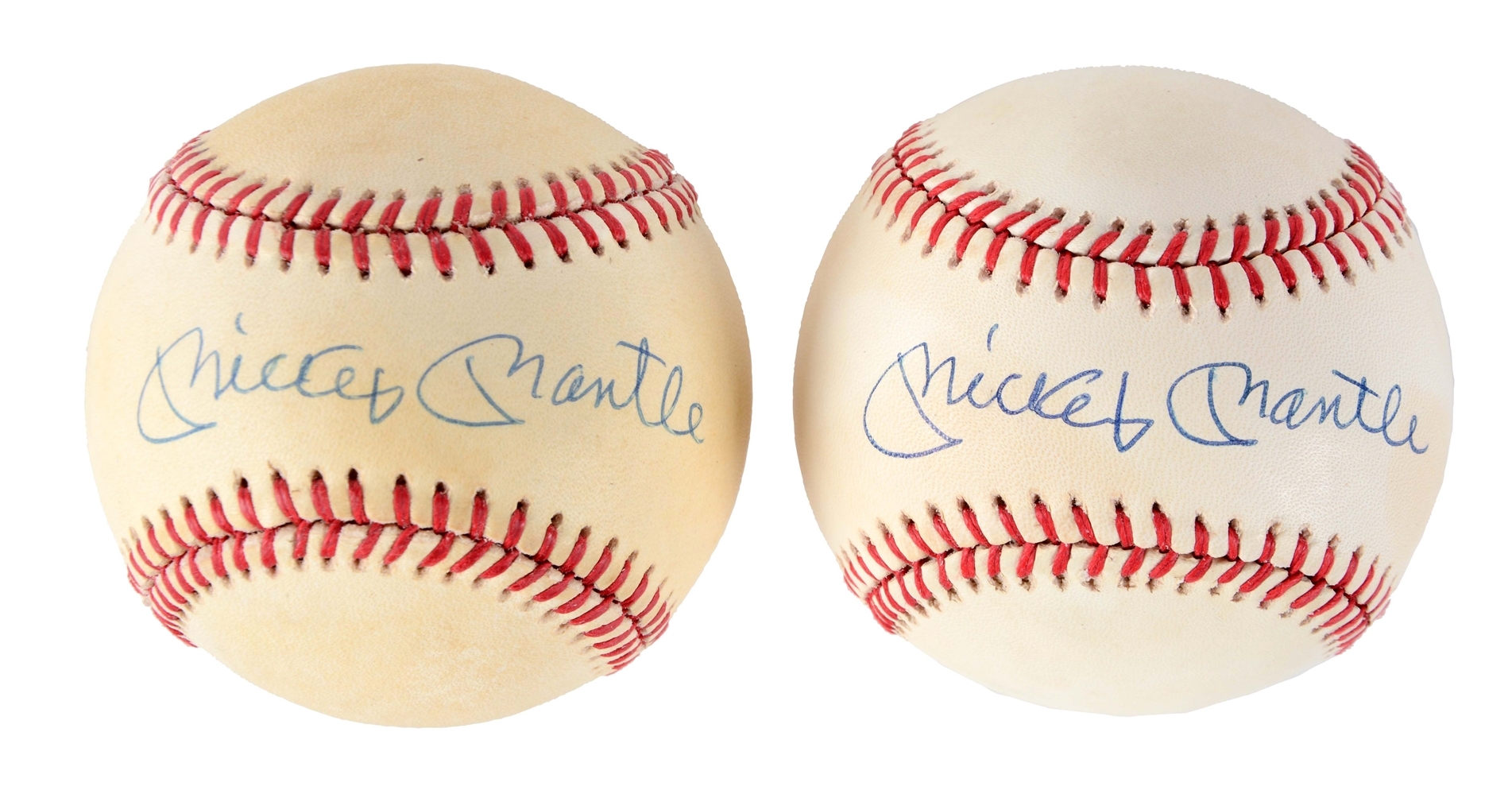 Lot of 2: Mickey Mantle Single Signed Baseballs.