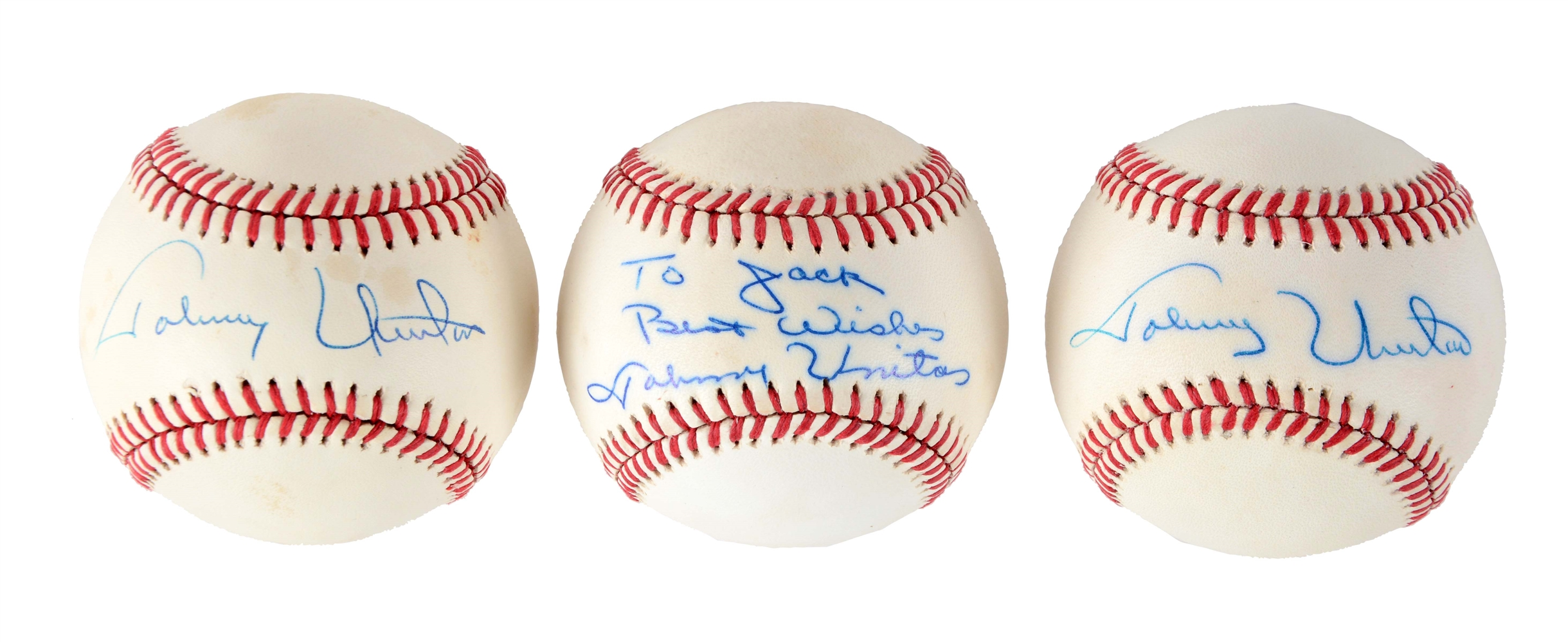 Lot of 3: Johnny Unitas Single Signed Baseballs.