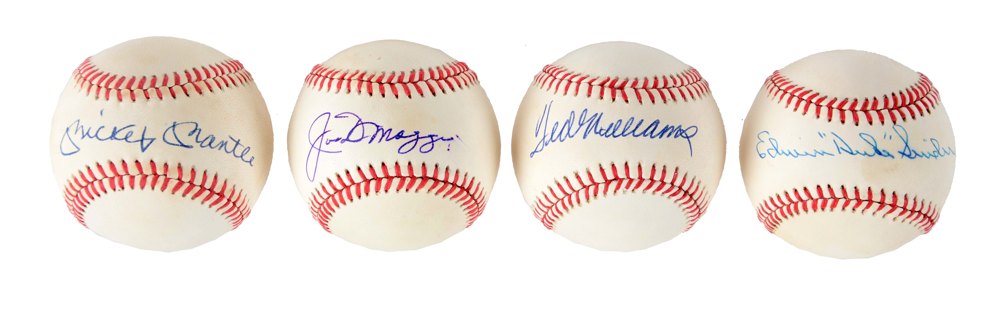 Lot of 4: Mantle, Williams, DiMaggio, & Snider Single Signed Baseballs.