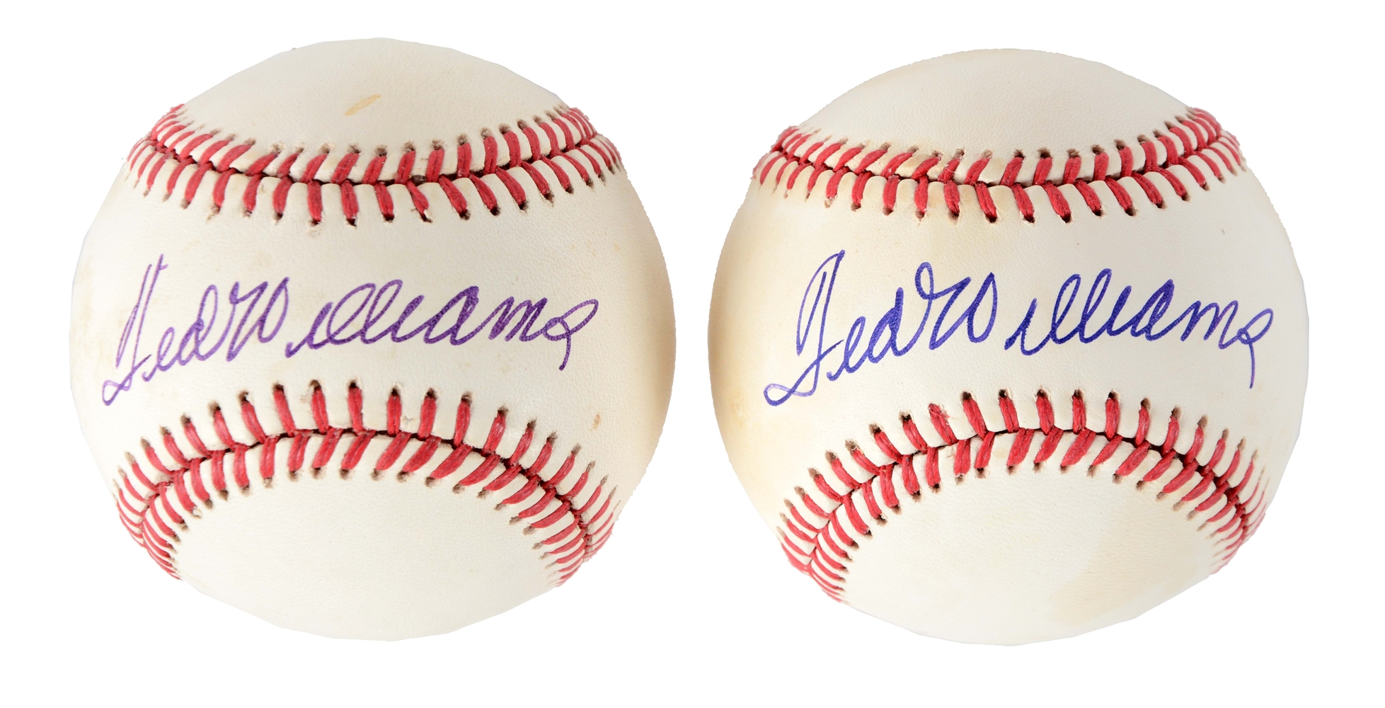 Lot of 2: Ted Williams Signed Baseballs.