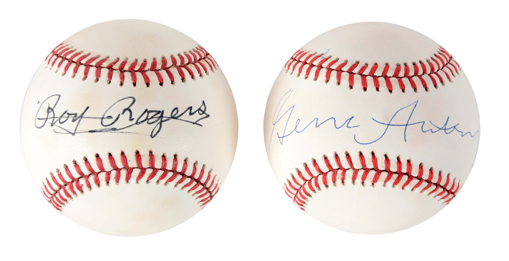 Lot of 2: Gene Autry & Roy Rogers Signed Baseballs.