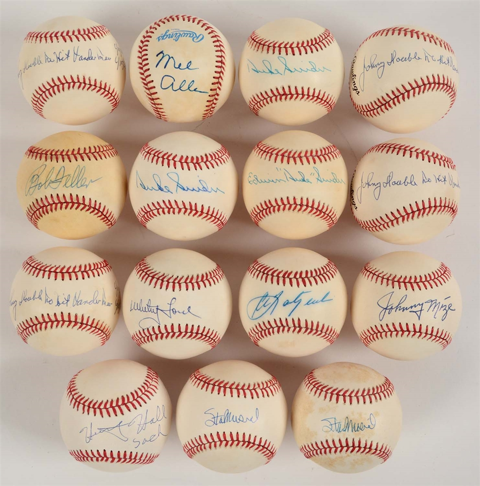 "Lot of 15: Single Signed Baseballs Including Mel Allen & Edwin ""Duke"" Snider."