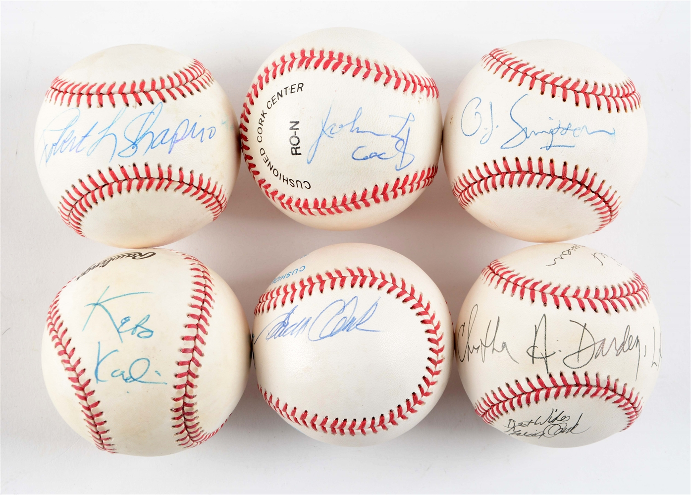 Lot of 6: The Trial of The Century Signed Baseballs.