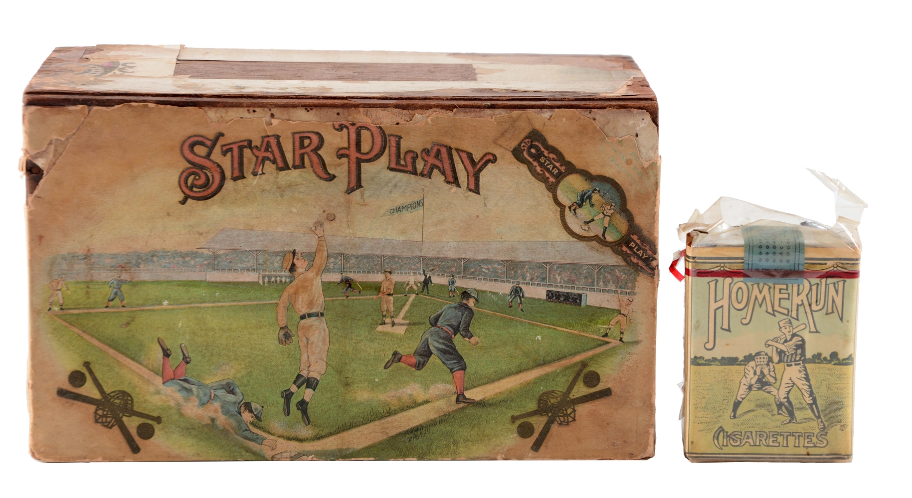 Lot of 2: Star Play Cigar Box with Home Run Cigarette Pack.