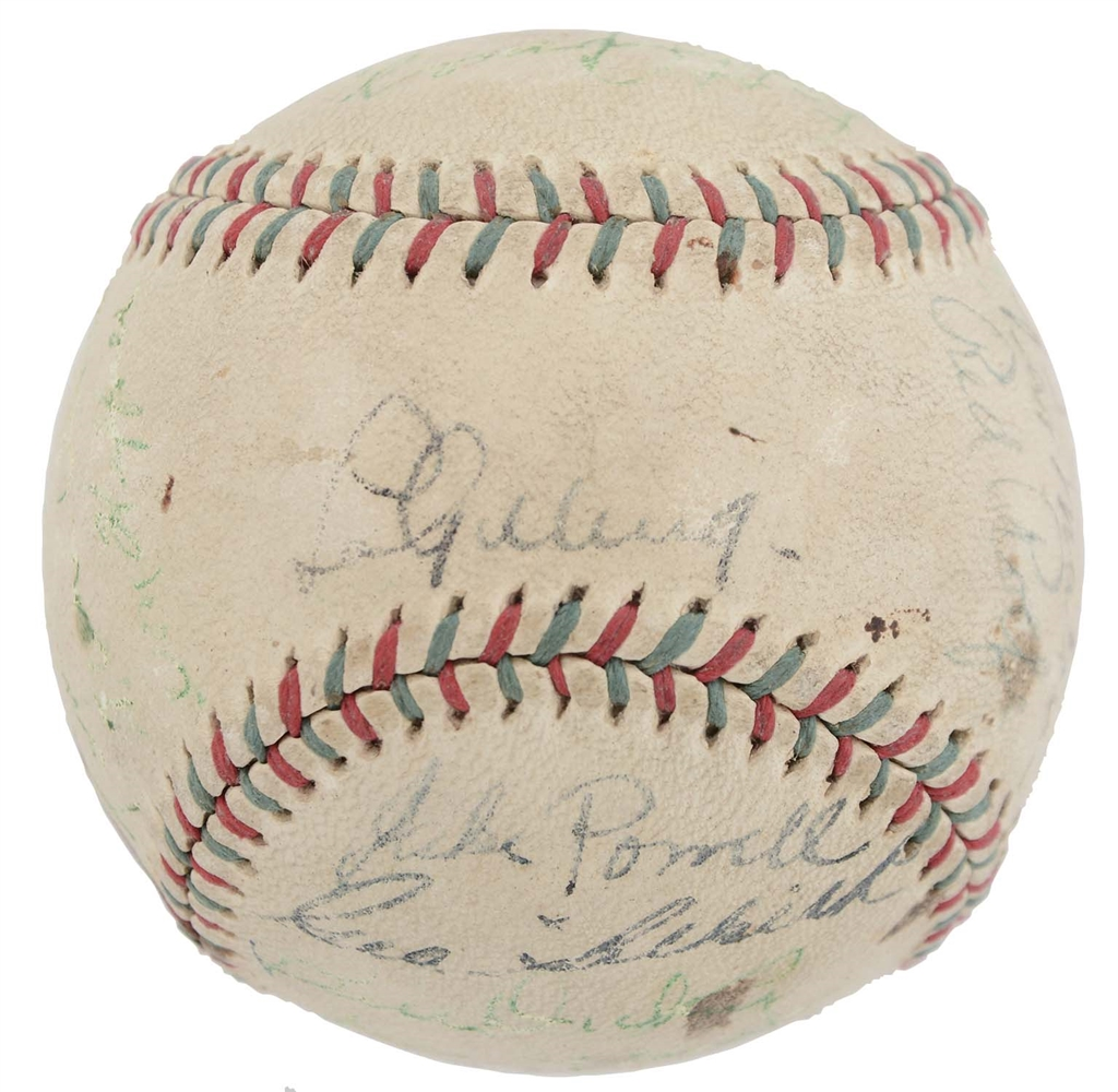 1936-37 World Champion New York Yankees Team Signed Baseball.