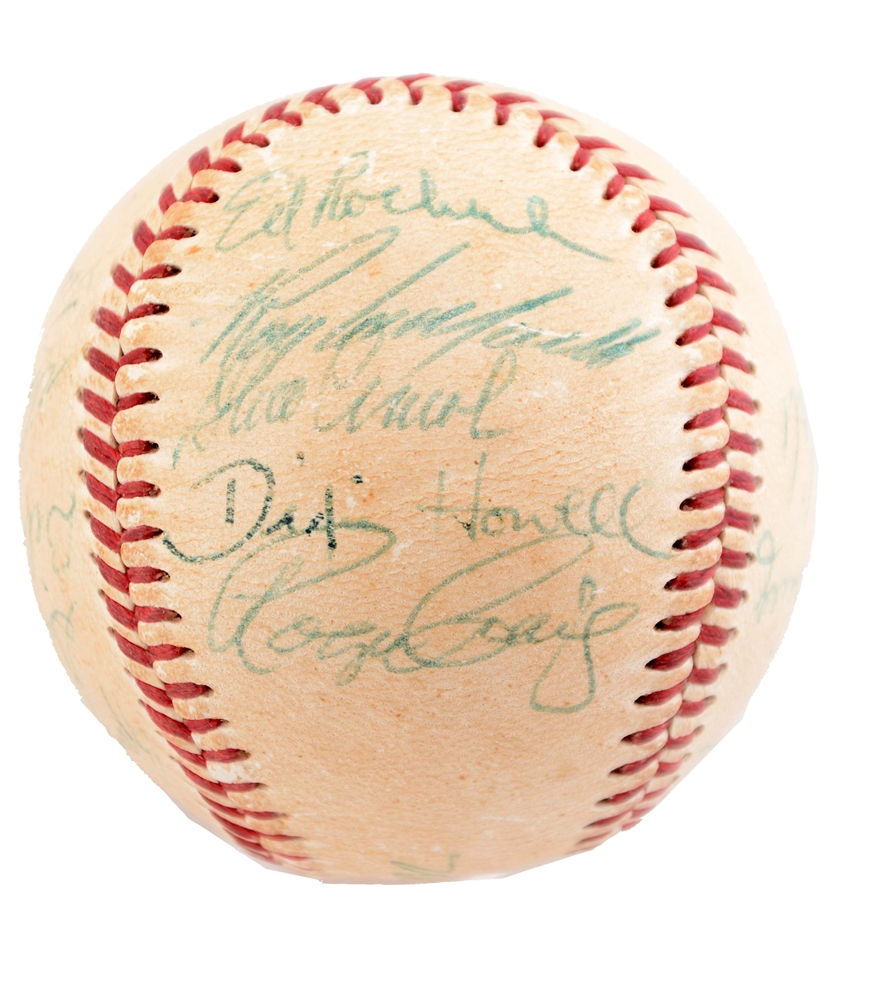 1956 Brooklyn Dodgers Team Signed Baseball with LOA.