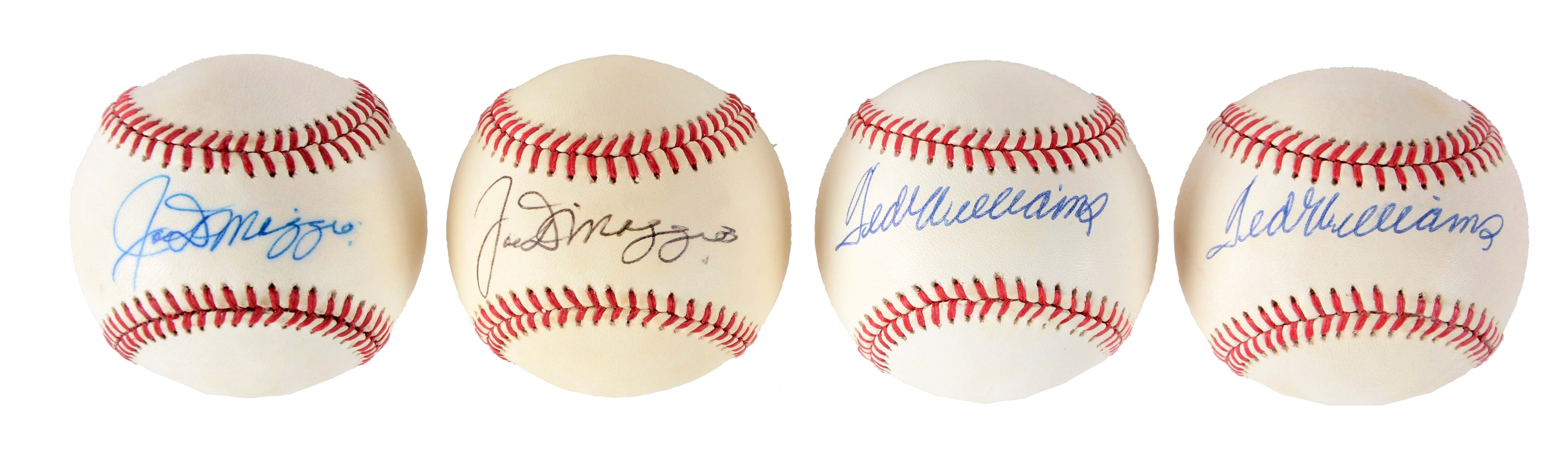 Lot of 4: Ted Williams and Joe DiMaggio Signed Baseballs.