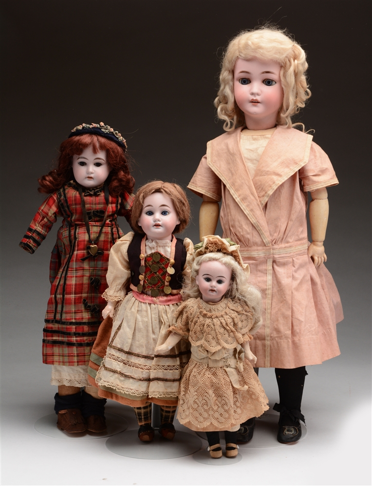 Lot of 4: German Open Mouth Dolls.