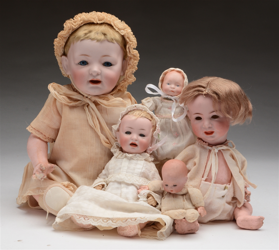 Lot of 5: Bisque Head Baby Dolls.