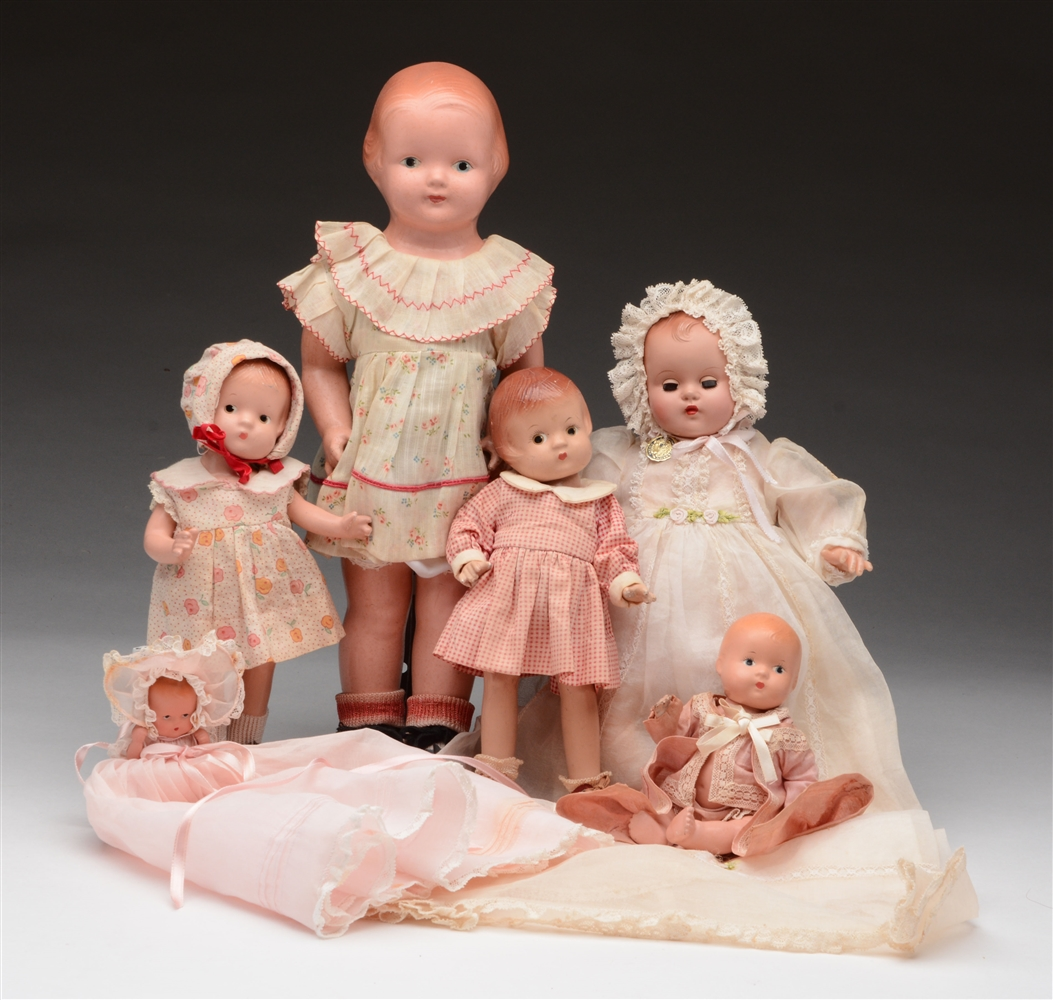Lot of 6: Composition & Hard Plastic Dolls.