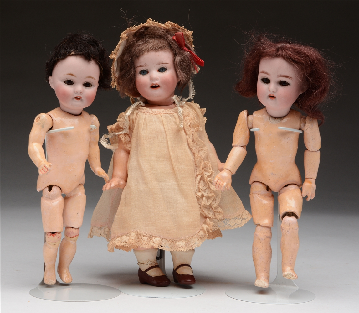 Lot of 3: Petite German Open Mouth Dolls.
