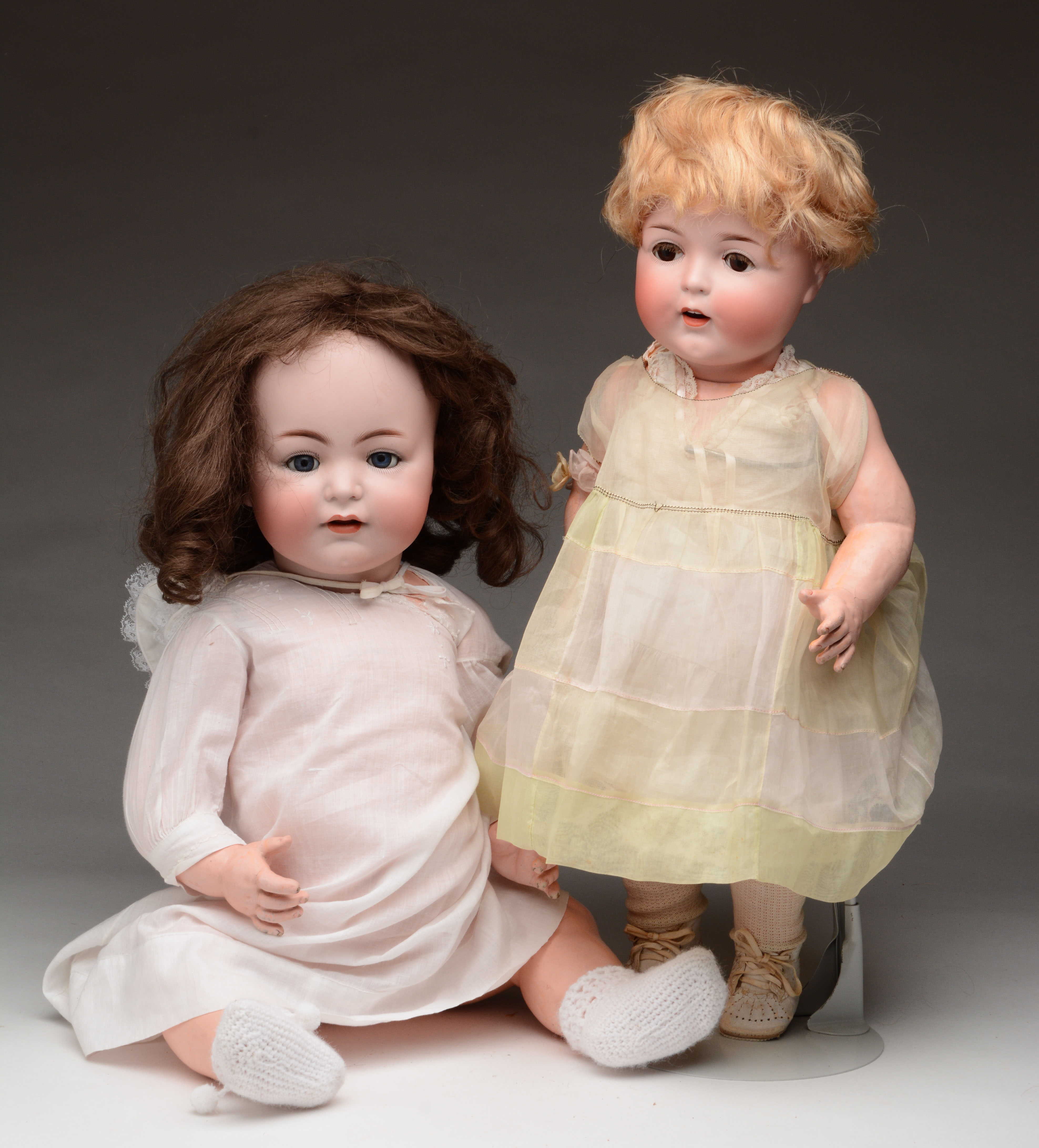 Lot of 2: Large Bisque Head Babies.