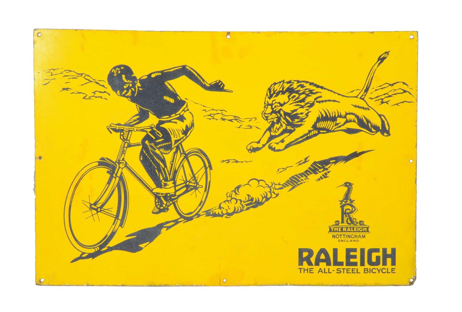"Raleigh ""The All-Steel Bicycle"" Porcelain Sign With Lion & Boy Graphic."