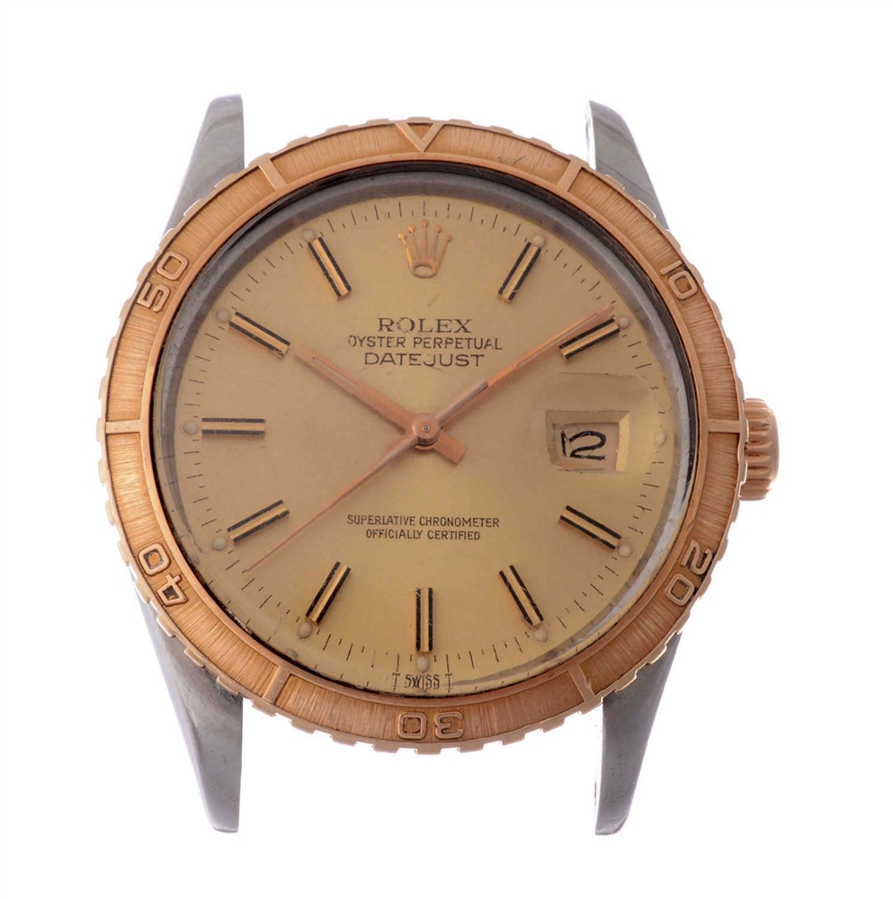 Vintage Rolex Stainless Steel and 14k Yellow Gold Thunderbird-Turnograph Datejust Wristwatch Model Number 16253.