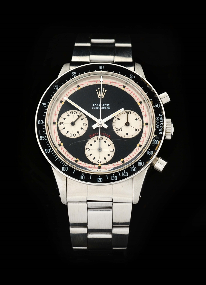 "Extremely Rare Vintage Rolex Stainless Steel ""Paul Newman"" Cosmograph Daytona Wristwatch Model Number 6264."