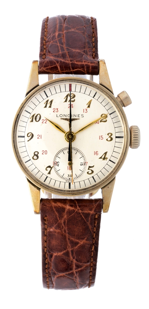 Longines-Wittnauer Vintage One Button Chronograph Wristwatch.