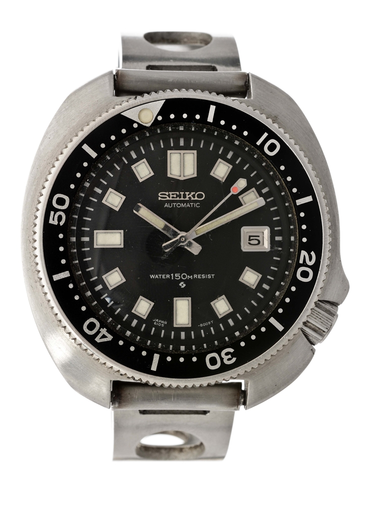 Vintage Seiko Stainless Steel Diver Wristwatch Model Number 6105-8119.