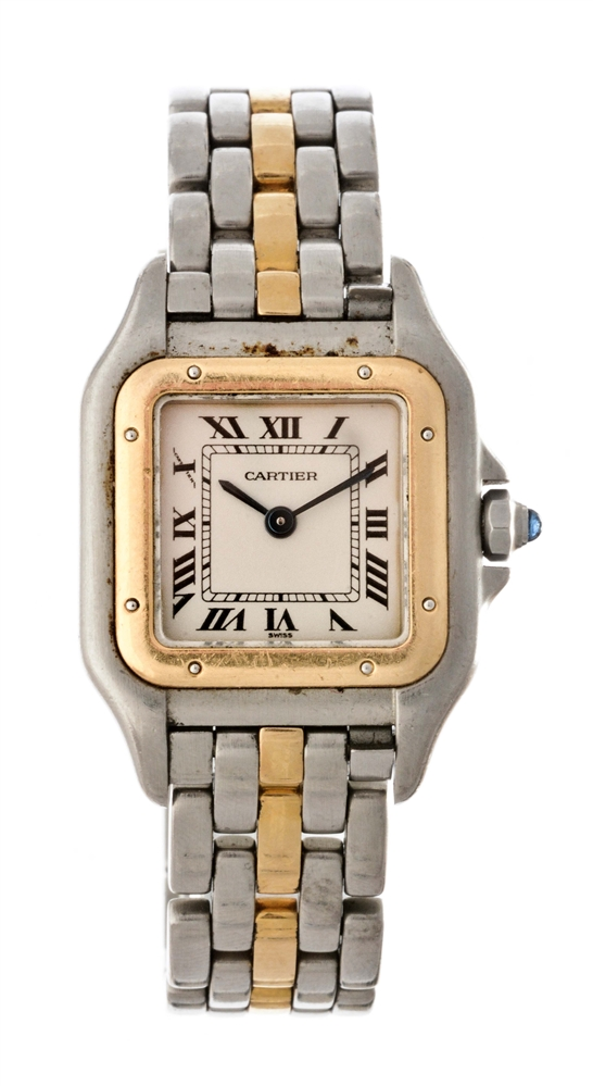 Vintage Cartier 18k Yellow Gold and Stainless Steel Panthere Wristwatch Model Number 1120.