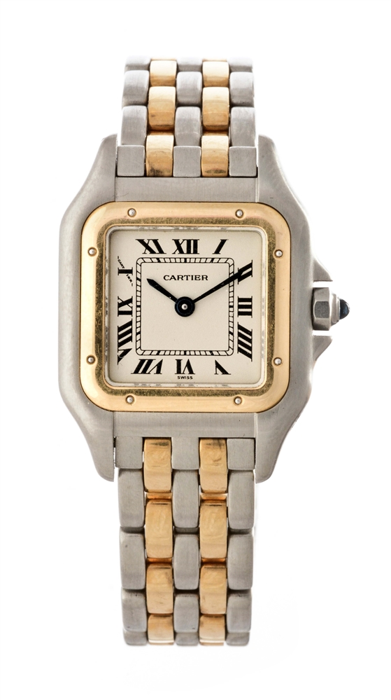 Vintage Cartier 18k Yellow Gold and Stainless Steel Panthere Wristwatch Model Number 112000 R.