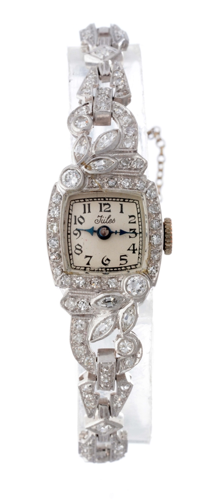 Vintage Jules Diamond Set Jewelry Wristwatch.