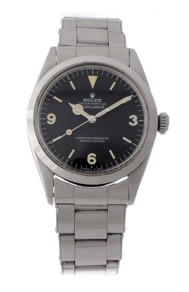 Vintage Rolex Stainless Steel Explorer Wristwatch Model Number 1016.