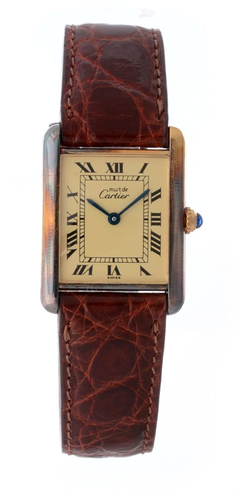 Vintage Cartier Gold Plaque Tank Wristwatch.