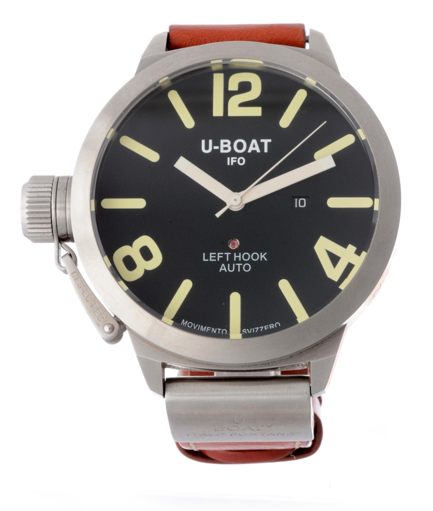 U-Boat IFO Left Hook Auto Stainless Steel Strap Wristwatch.