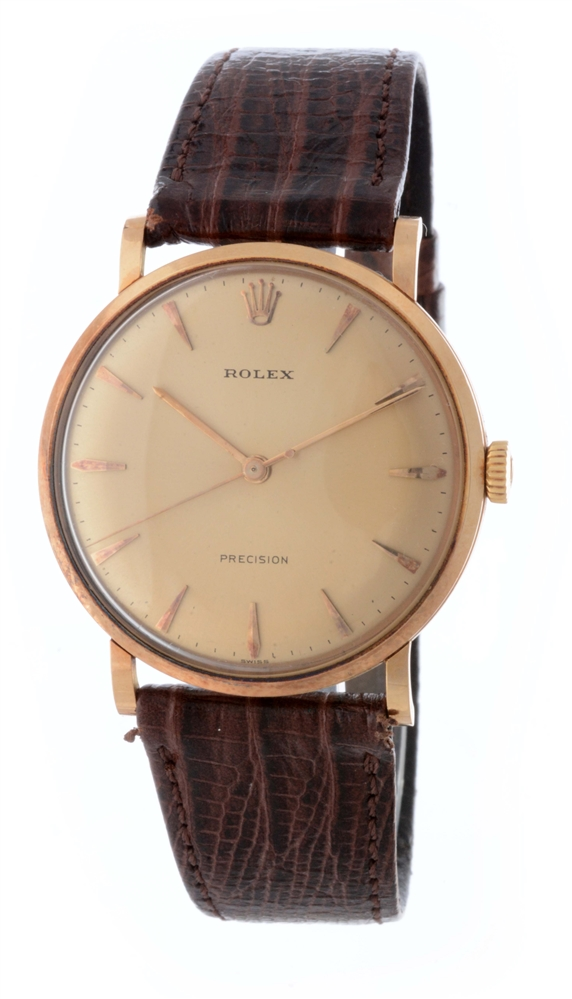 Vintage Rolex 18K Rose Gold Precision Wristwatch Model Number 9659.