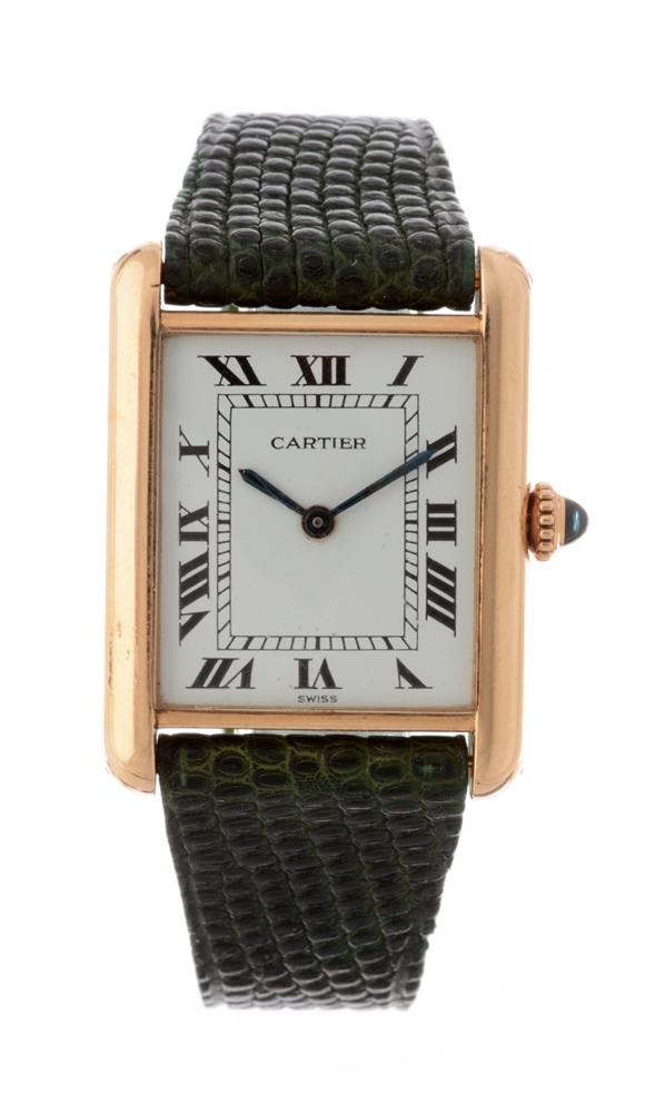 Vintage Cartier 18k Yellow Gold Tank Wristwatch.