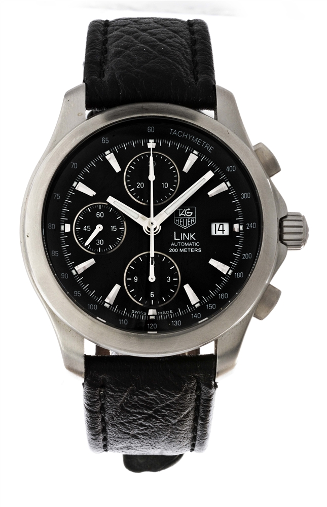 Tag Heuer Stainless Steel Link Chronograph Wristwatch Model Number CJF2110.