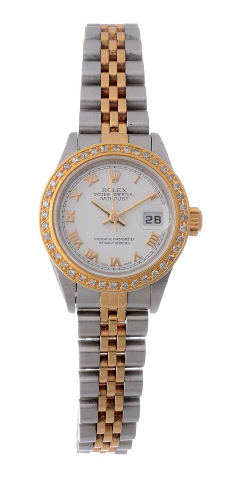 Rolex 18k Yellow Gold and Stainless Steel Ladies Custom Diamond Set Wristwatch Model Number 79173.
