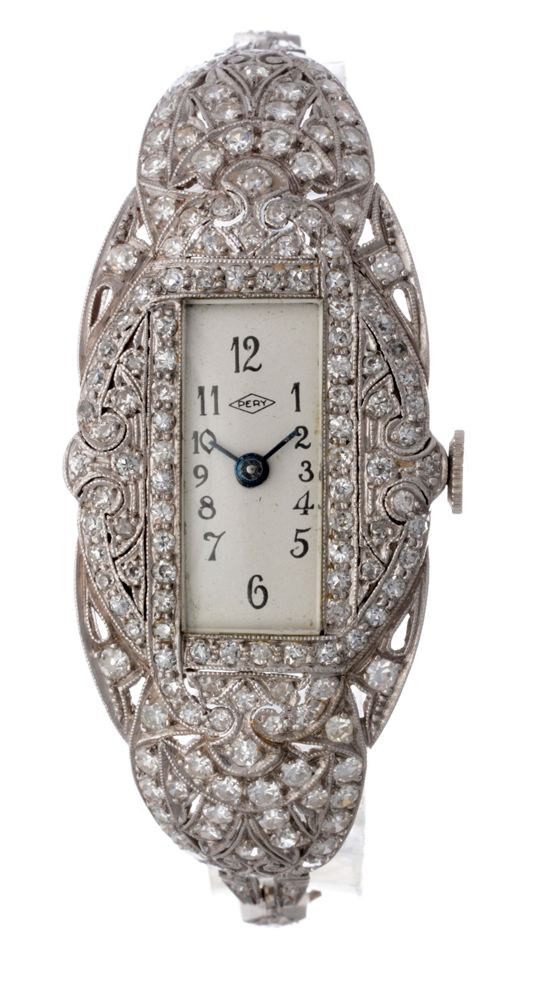 Pery Platinum and Diamond Ladies Wristwatch.