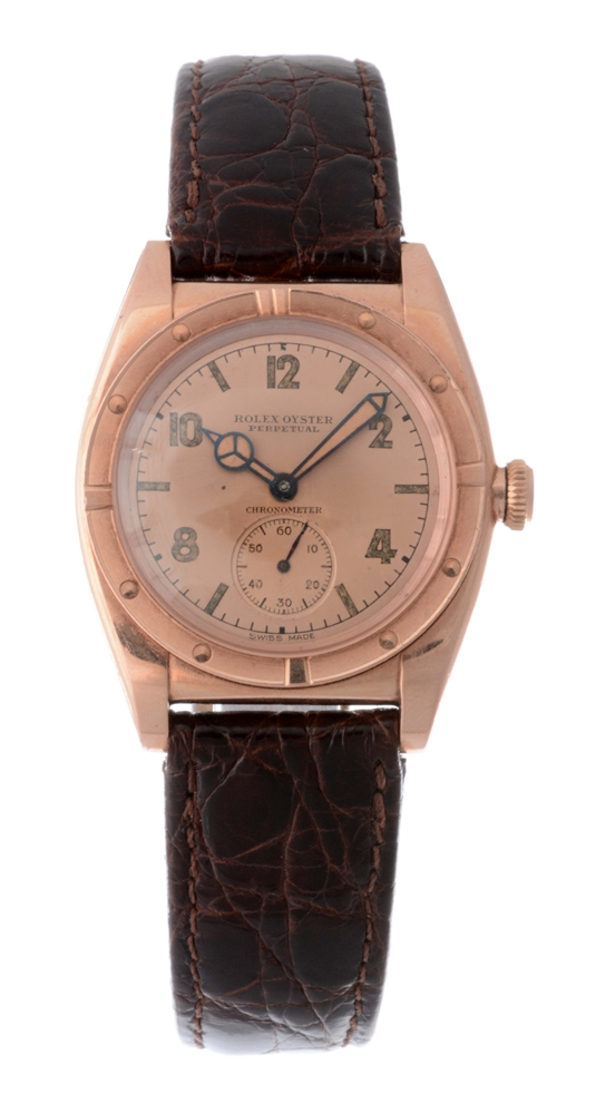 Vintage Rolex 14k Rose Gold Bubbleback Wristwatch.